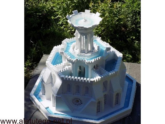 Architektura ogrodowa z betonu ,za darmo nowa technika budowy form 3d , fontanny ze świecami.